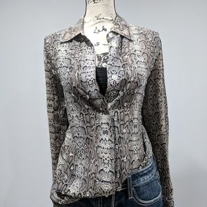 Button Up Snakeskin Print Blouse Size M/L